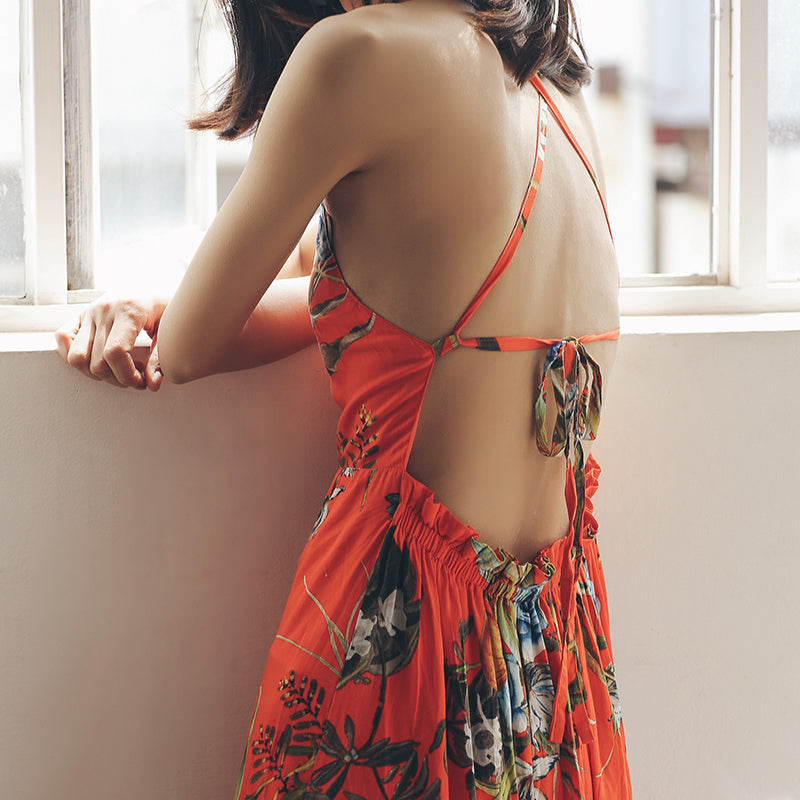 Backless Sexy Tropical Dress