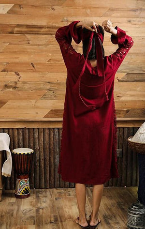 Bohemian Embroidered Red Dress