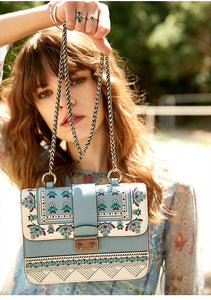 Blue Ethnic Embroidered Bag