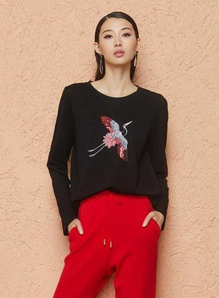 Sequin Embroideed Long Sleeve T-Shirt
