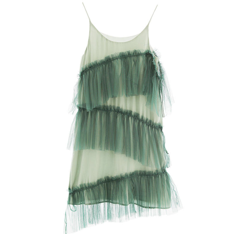 Asymmetrical Green Mesh Dress