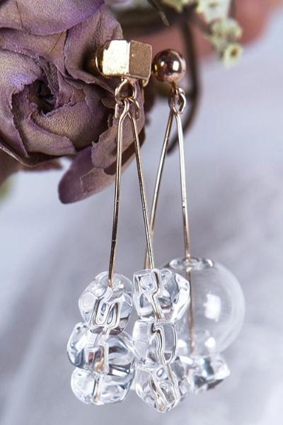 Transparent Glass Earrings