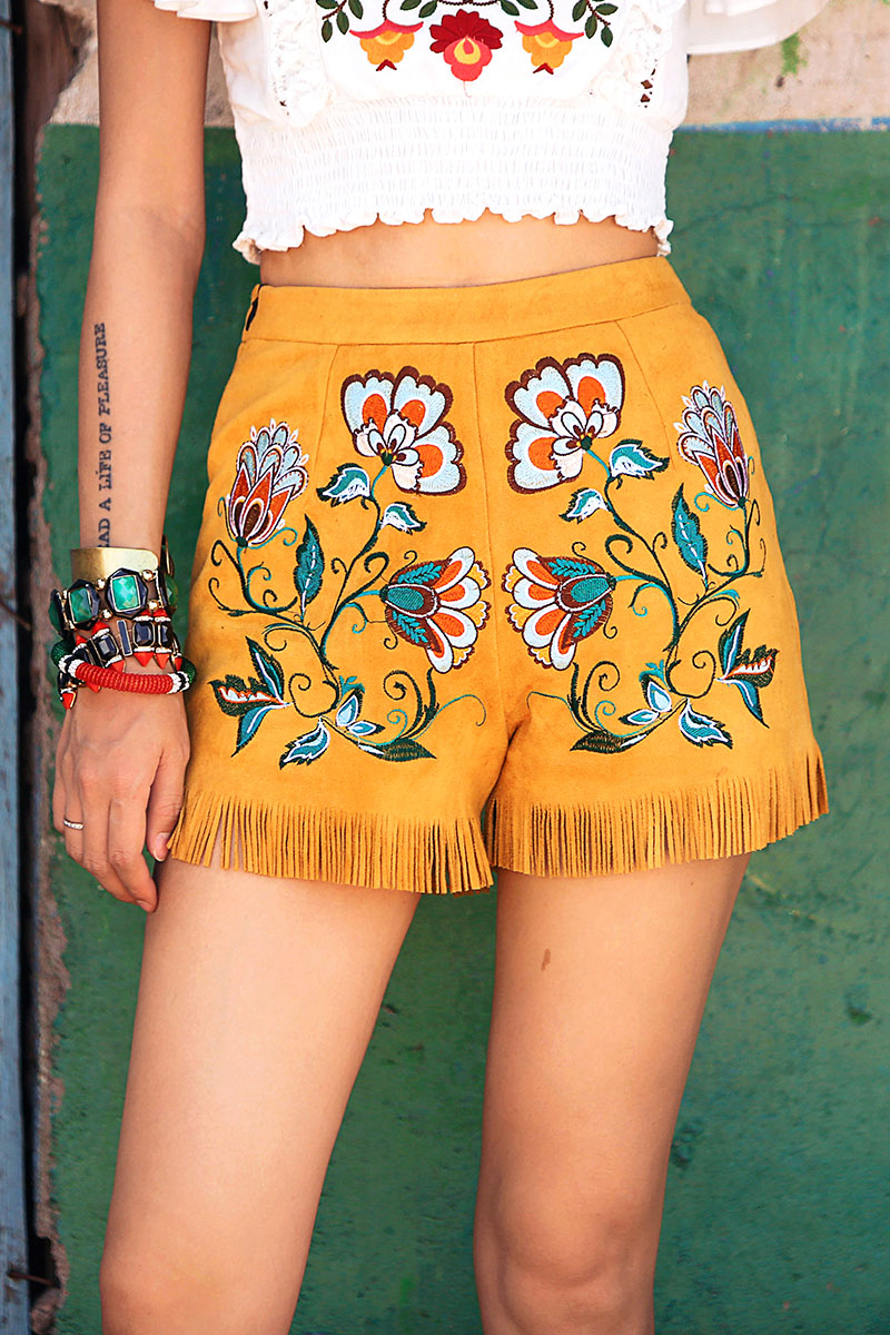 Hippie Style Yellow Embroidered Shorts