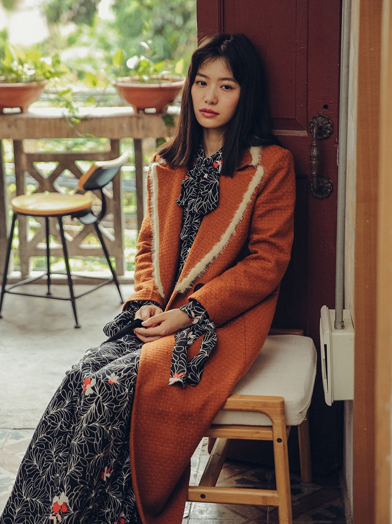 Orange Woolen Long Coat