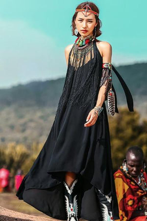 Bohemian Fringe Black Dress