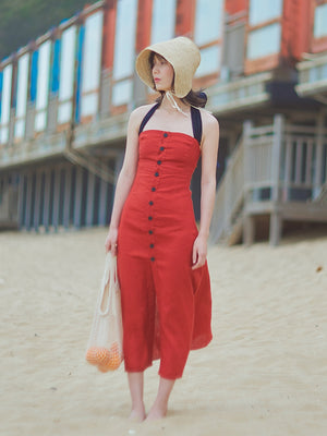 Backless Linen Red Dress