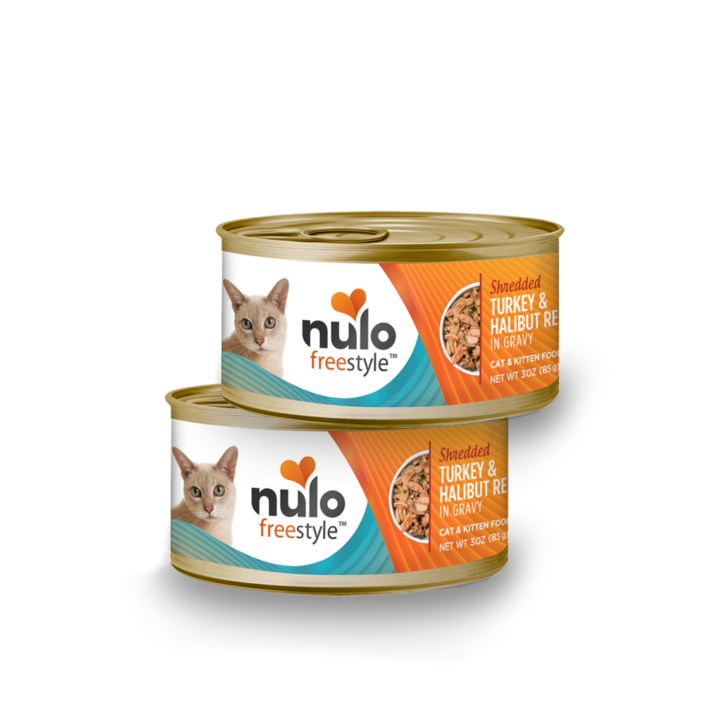 Nulo can cat shredded turkey & halibut 3oz