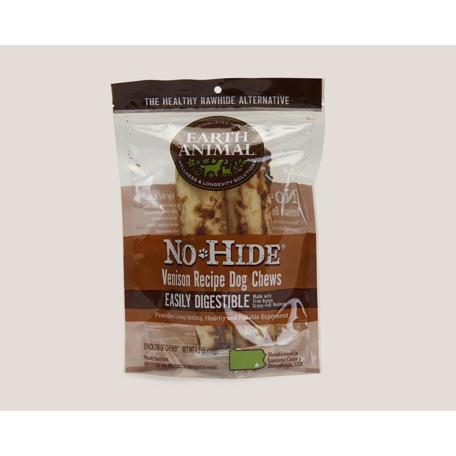 Earth Animal no hide venison chews 7in 2 pack