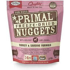 Primal dog 14oz turkey sardine nuggets freezedried