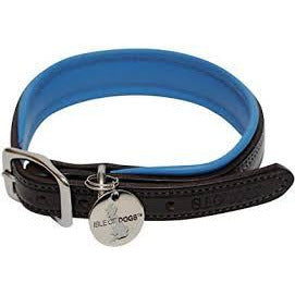 Isle of dogs leather collar blue