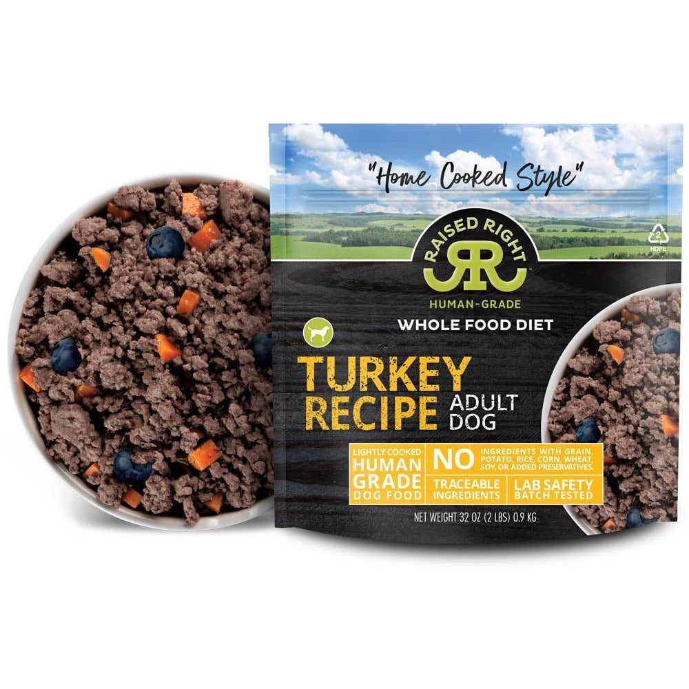 Raised Right Frozen Dog Food Turkey