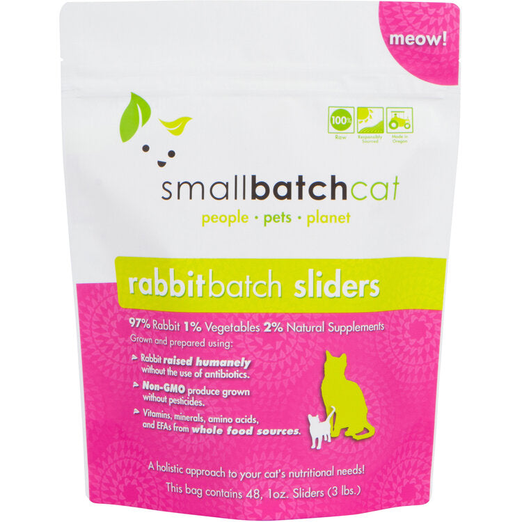 Smallbatch frozen rabbit sliders for cats