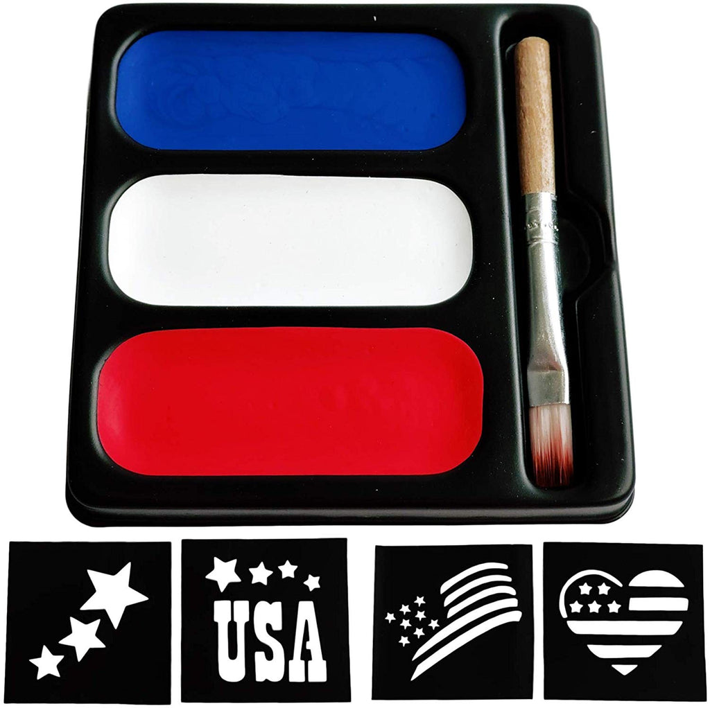 USA Colors Face Paint Palette with Stencils
