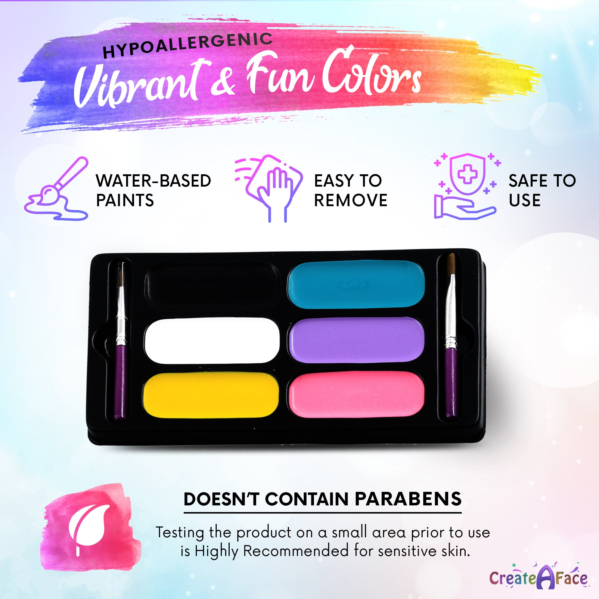 Unicorn Colors Face Paint Palette (6 Paints, Brush & Stencils)
