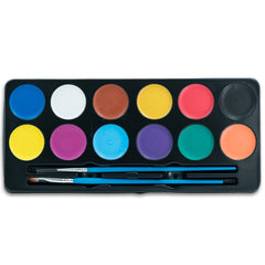 Face & Body Paint Palette (12 Vibrant Water Colors) 24 Stencils 2 Brushes - Halloween Makeup - Easy On and Off - Ideal For Sensitive Skin