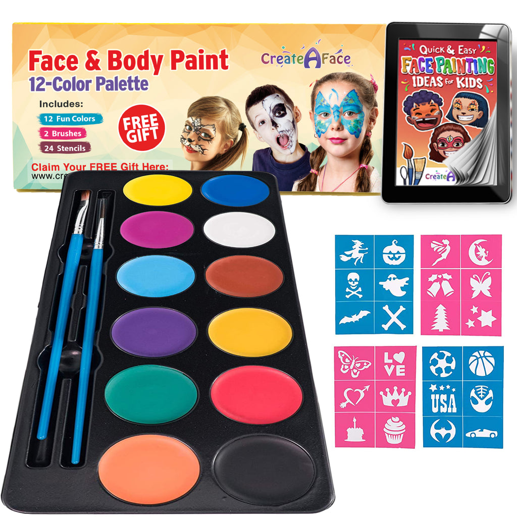 Face & Body Paint Palette (12 Vibrant Colors)