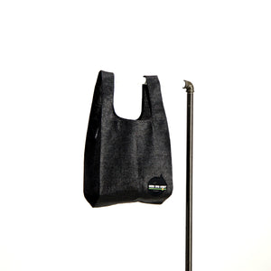 upcycled urban shopper - good bag habit standard black. sustainable bag brand. made in south africa.