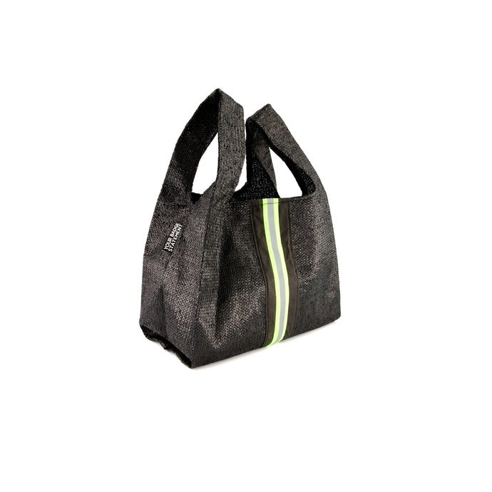 upcycled urban shopper - black reflective small. sustainable bag brand. made in south africa.