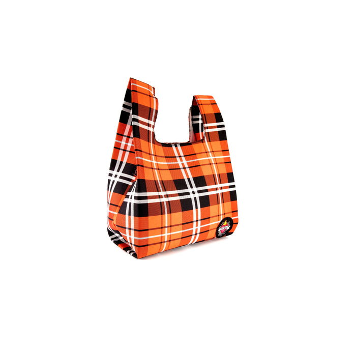 upcycled urban shopper - orange tartan small. sustainable bag brand. made in south africa.