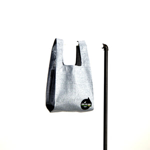 upcycled urban shopper - good bag habit standard silver. sustainable bag brand. made in south africa.