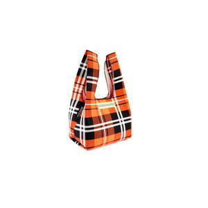 upcycled urban shopper - orange tartan baby. sustainable bag brand. made in south africa.