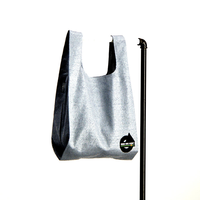upcycled urban shopper - good bag habit big silver. sustainable bag brand. made in south africa.
