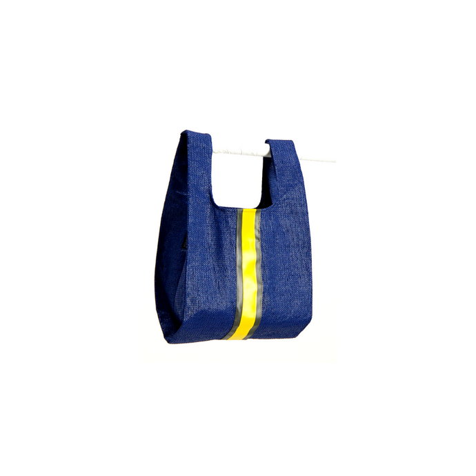 upcycled urban shopper - blue racer small. sustainable bag brand. made in south africa.