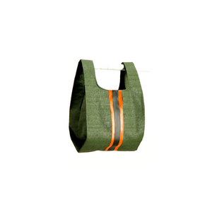 upcycled urban shopper - army green racer small.  sustainable bag brand.  made in south africa.