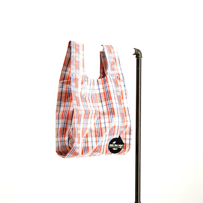 upcycled urban shopper - good bag habit big iconic check red. sustainable bag brand. made in south africa.