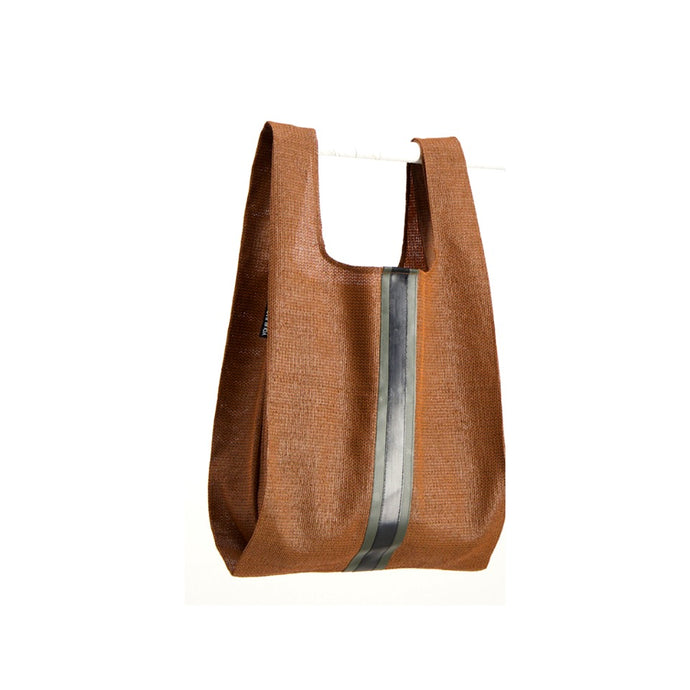 upcycled urban shopper - rust racer big. sustainable bag brand. made in south africa.