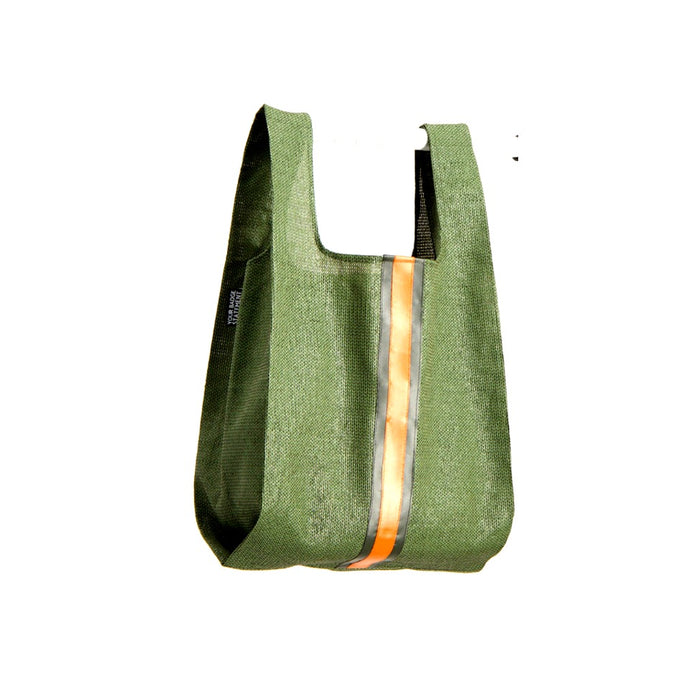 upcycled urban shopper - army green racer big. sustainable bag brand. made in south africa.