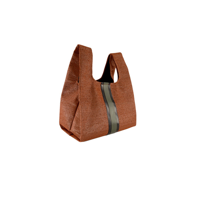 upcycled urban shopper - rust racer small. sustainable bag brand. made in south africa.