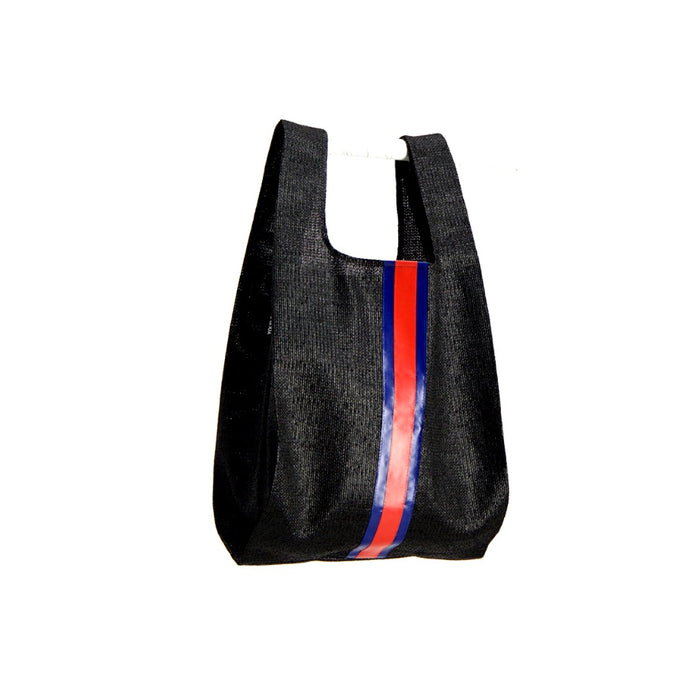 upcycled urban shopper - black racer big. sustainable bag brand. made in south africa.