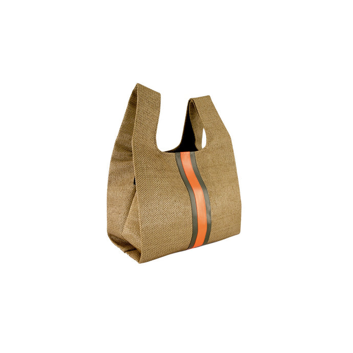 upcycled urban shopper - cinnamon racer small. sustainable bag brand. made in south africa.