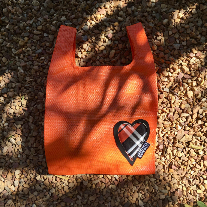 Upcycled Urban Shopper - ORANGE HEART