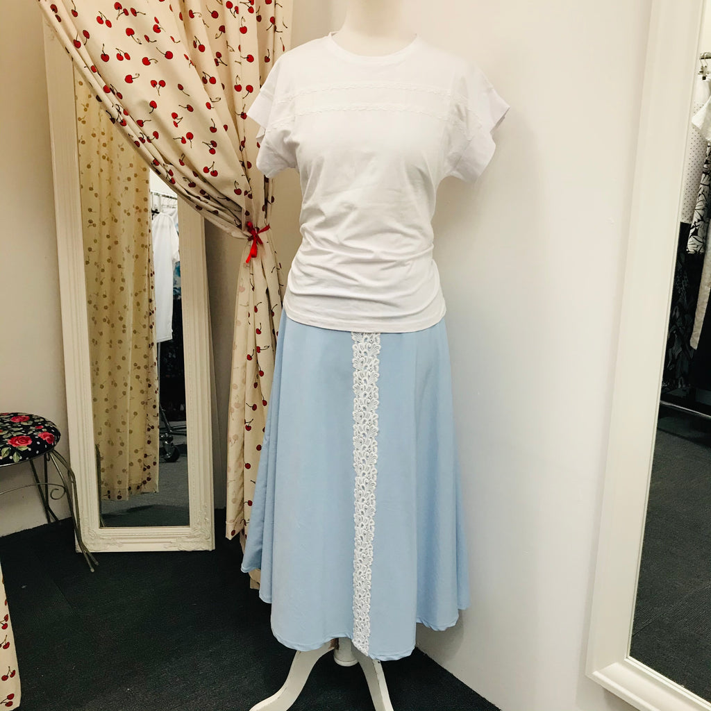 Long Blue Skirt with white lace detail