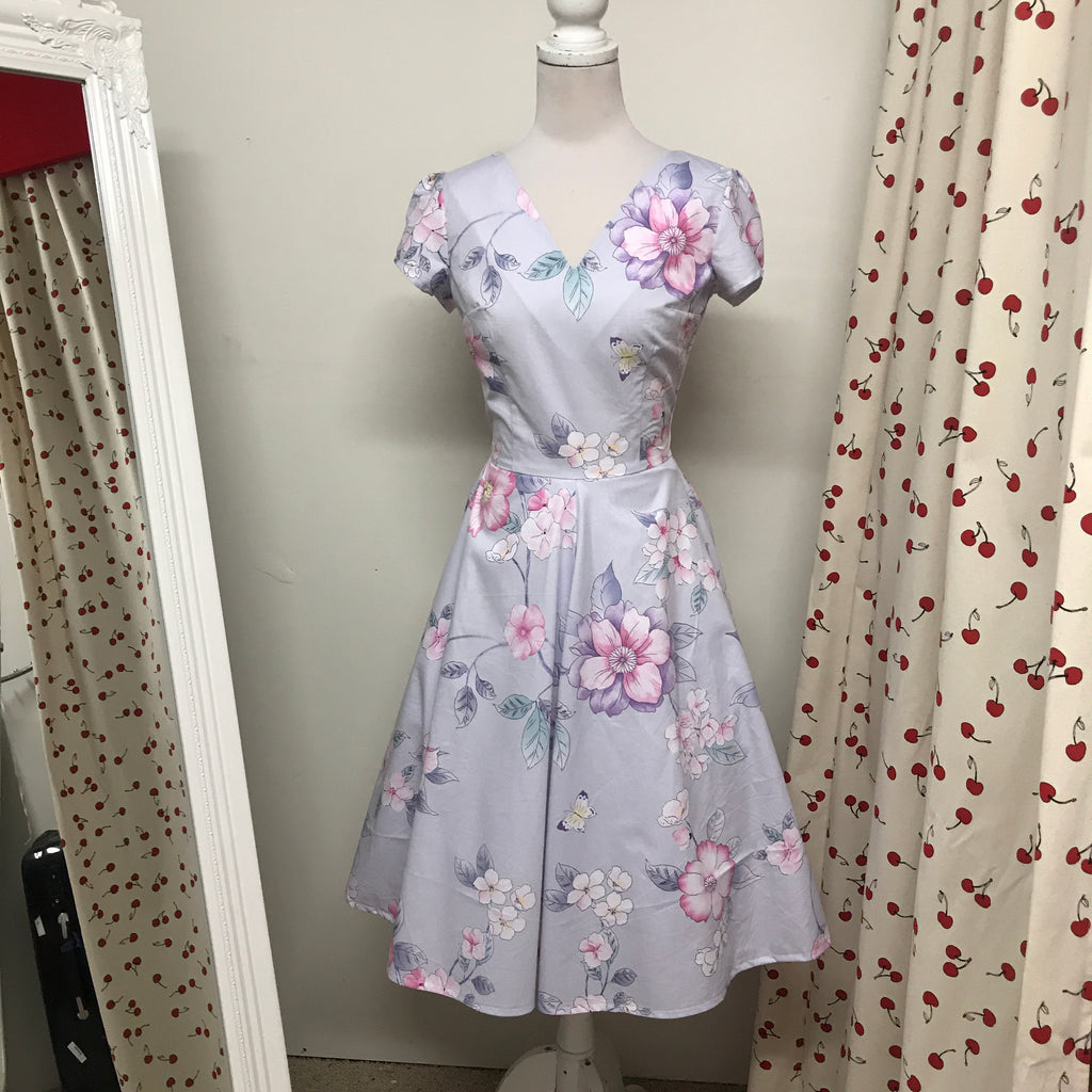 Pale Purple with Pink Flowers Dress
