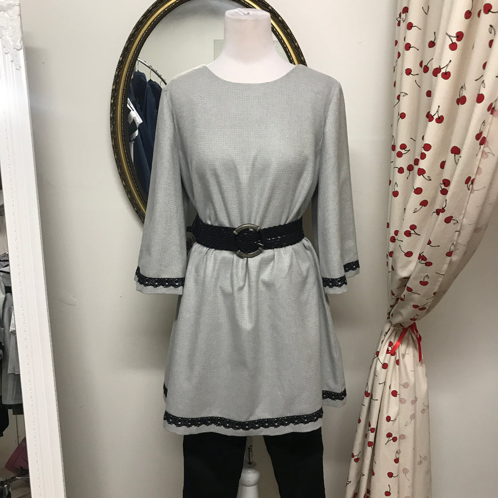 Silver Wool Tunic with Black Lace Trim Large
