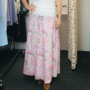 Pink Peonie Skirt Long Classic and Regular Classic ALine Skirt