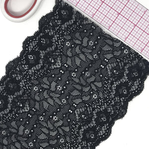"5 3/4"" (15cm) Wide Black Scallop Stretch Lace - 1 Yard"