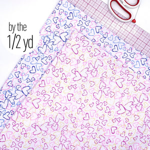 Cotton Spandex Knit Jersey Fabric, By The 1/2 Yard, Bright Blue/Pink Or Pink/Yellow Heart Print