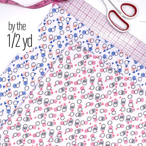Cotton Spandex Knit Jersey Fabric, By The 1/2 Yard, Pink Or Blue Circles And Hearts
