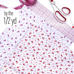 Cotton Spandex Knit Jersey Fabric, By The 1/2 Yard, Small Roses In Dark Pink Or Red Print