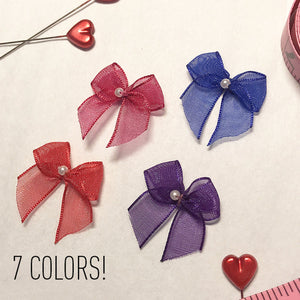 "Embellishments - 1"" (2.5cm) Small Organza Bows With Pearlesque Bead In 7 Colors- Set Of 2"
