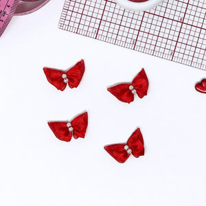 "Embellishments - 1"" (25mm) Small Red Satin Butterfly Bows With Pearlesque Beads- Set Of 2"