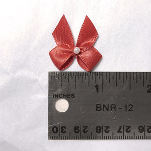 "Embellishments - 1"" (25mm) Small Satin Bows With Pearlesque Bead- Set Of 2"