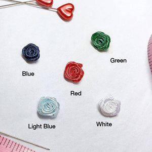 "Embellishments - 3/8"" (10mm) Small Satin Rose Embellishments- Set Of 4"