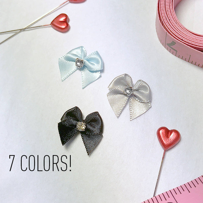 "7/8"" (22mm) Small Satin Bows with Rhinestone- Set of 2"