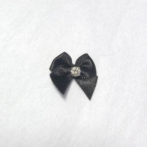"Embellishments - 7/8"" (22mm) Small Satin Bows With Rhinestone- Set Of 2"