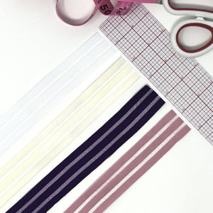 "Flat Elastics - 1"" (25mm) Flat Elastic With Alternating Sheer Stripes, Stretch Trim- 2 Yards"